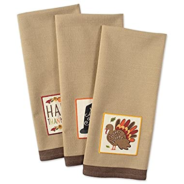 DII Cotton Thanksgiving Holiday Dish Towels, 18x28  Set of 3, Decorative Oversized Embellished Kitchen Towels, Perfect Home and Kitchen Gift-Pumpkin Spice