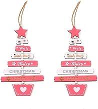 2 Pcs Christmas Door Window Wall Christmas Decoration Ornament Pink Christmas Tree Wooden Pendant