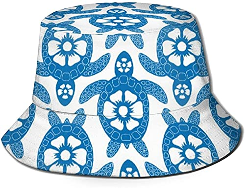 Unisex Outdoor Bucket Hüte Breite Krempe Sonnenschutz Fischerhüte mit Kupferplatte Fassade Tough Element Pink Rose Gold Fun Blau Schildkröten und Blumen