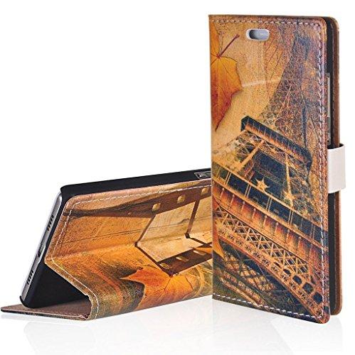 WindCase Klappetui Brieftasche PU Leder Schutzhülle für Alcatel OneTouch Pop Up OT6044 Hülle Eiffelturm Muster PU Ledertasche Case mit Standfunktion Kartenfächer