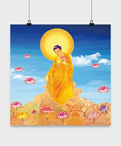 Amitabha Buddha Poster - Buddhist God Amituofo Statue - Decorative Buddhist Gift of Amida Buddha in Pure Land with Color Painting Effect - Buddhism
