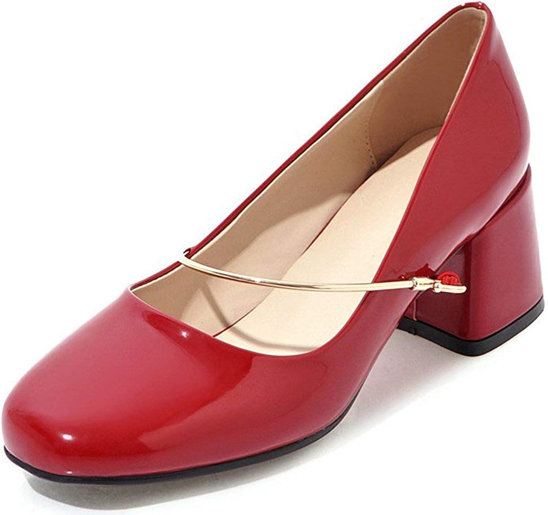 Ghapwe Women's Fashion Square Toe Medium Block Heels Slip On Pumps shoes Red 10.5 M US