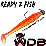 Angel-Berger Wild Devil Baits Shockwave Shad Loaded Gummifisch (Red Devil, 12cm)