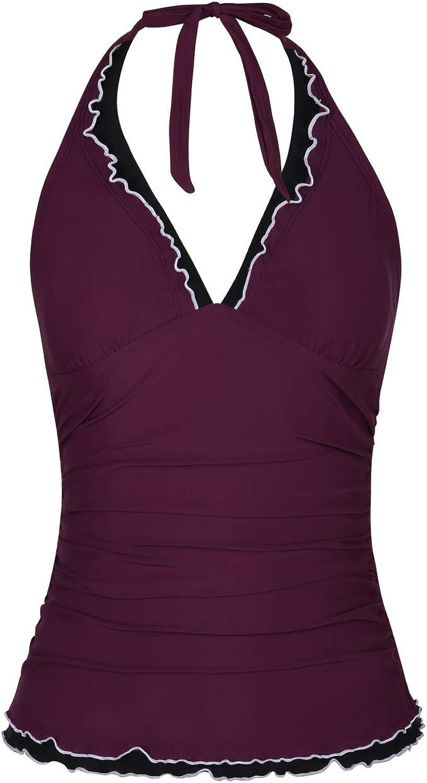 Firpearl Women's Tankini Swimsuits Top V Neck Halter Swimwear Ruffle Swim Top