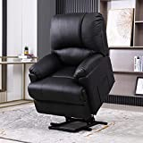 Power Lift Chair, Electric Recliner Lift Chair with Heat and Massage for Elderly Pregnancy, Breath Leather Ergonomic Reclining Sofa Chair Up to 330 LB with Side Pockets and Remote Controls(Black)