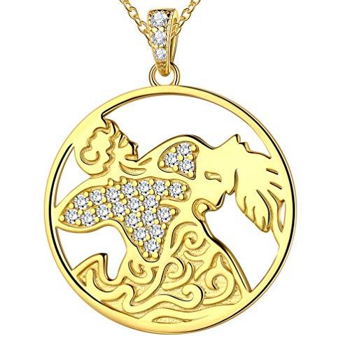 Besilver 12 Sternbild-Serie Damen Echtschmuck Sternzeichen Kette mit Anhänger Horoskop Tierkreis Halskette in 925 Sterling Silber 55cm Länge FP0093P
