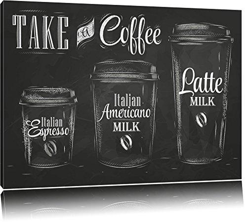 Take a Coffee Kaffee Speziale Format: 80x60 auf Leinwand, XXL riesige Bilder fertig gerahmt mit Keilrahmen, Kunstdruck auf Wandbild mit Rahmen, günstiger als Gemälde oder Ölbild, kein Poster oder Plakat