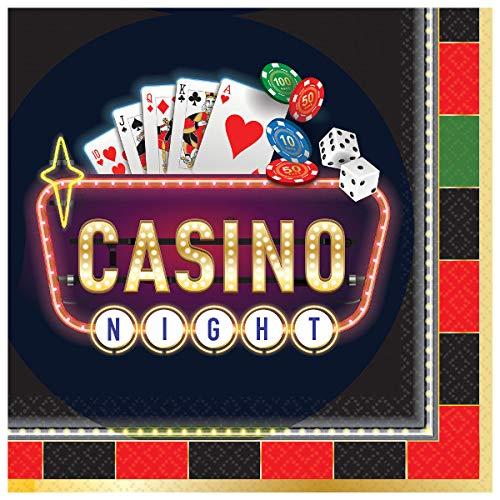 Amscan Casino 16 serviettes de table 33 cm