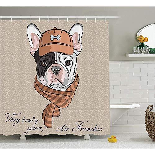 HHYSPA Divertido Hipster francés Bulldog con Gorra y Forrada con Bufanda Color Rosa Animal Humor Arte gráfico Tejido de poliéster Baño 3D Cortina de Ducha con 12 Ganchos 71X71 Inch