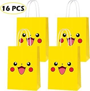 16 PCS Video Game Theme Birthday Party Paper Gift Bags for Pokemon Party Supplies Birthday Party Decorations - Party Favor Goody Treat Candy Bags for Nintendo Game Kids Adults Birthday Party Decor- YELLOW