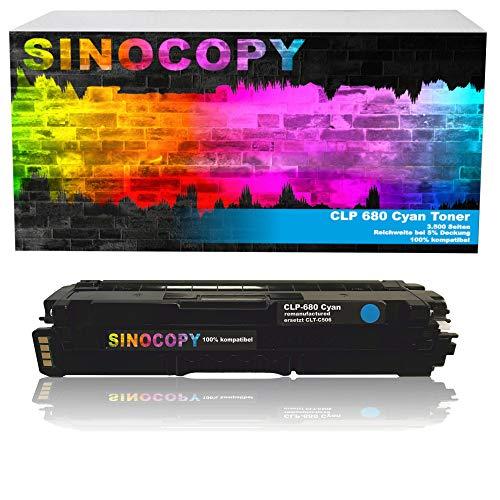 SinoCopy XXL Cyan Toner für Samsung CLP-680 C 3.500 Seiten S, kompatibel zu Samsung CLP-680 DW ND Series CLX-6260 FD FR FW ND - CLT-K506L C506L M506L Y506L
