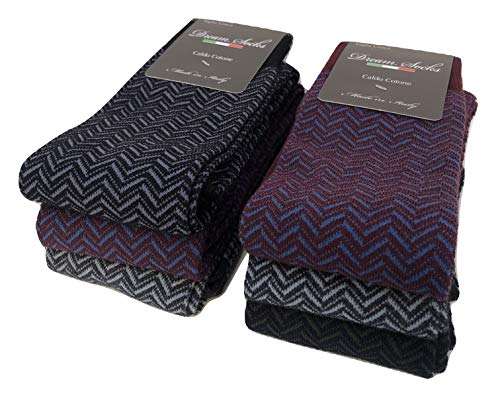 DREAM SOCKS 6 PAIA di calze calzini UOMO LUNGHE caldo cotone elasticizzate,100% Made in Italy,vari assortimenti (41/46, set.lisca di pesce)