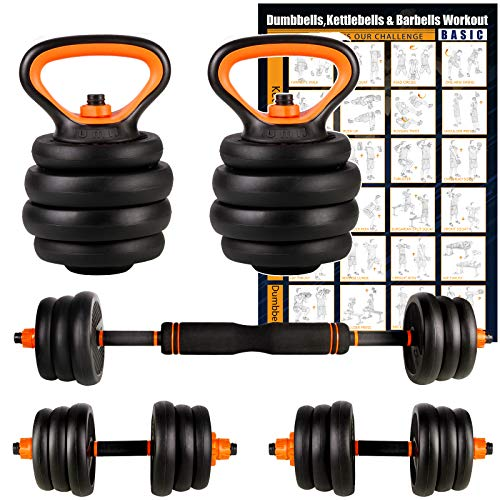 UMI Amazon Brand Juego de Mancuernas, Kettlebell y Barra de musculación con Discos, 2 de 10 kg Cada Unidad