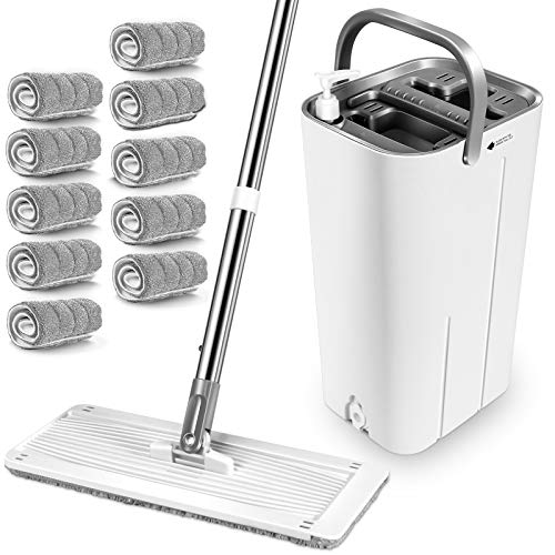 MASTERTOP Mop and Bucket System - 360 Flat Mop and Bucket with Wringer Set,Mops for Floor Cleaning, Hardwood, Laminate, Tiles, Stainless Steel Handle, 10 Reusable Microfiber Mop Pads