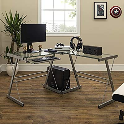 Walker Edison Furniture Company Modern Corner L Shaped Glass Computer Writing Gaming Gamer Command Center Workstation Desk Home Office, Single, Silver