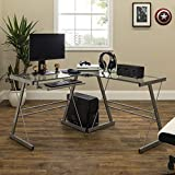 Walker Edison Ellis Modern Glass Top L Shaped Corner Gaming Desk with Computer Keyboard Tray, 51 Inch, Silver