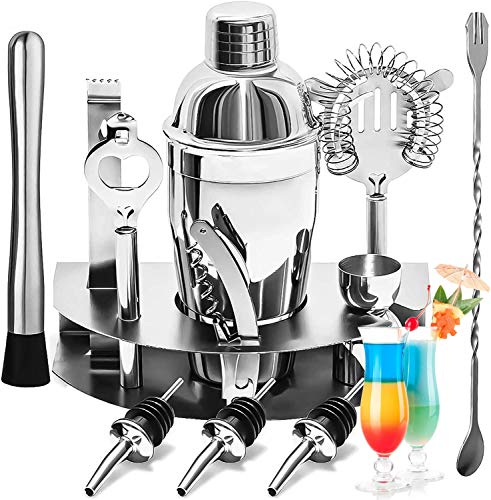 Utensilios de Bar, 750ML bartender kit 12 Piezas, Cocktail Bar Set Kit de Acero Inoxidable, Kit de Bartender Ideal para Bar, Hogar Mezclar Bebidas