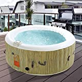 MidwestGarv27 4-Person Inflatable Hot Tub with Cover and Pump - Heated Bubble Massage Spa I Durable and I Everything Needed to Set Up is Included