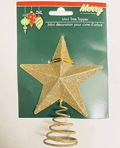 Christmas House Gold Glitter Miniature 5 Point Star Tree Topper - 4 x 4.75 Inches