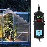 Seacanl Controlador de Temperatura Digital, termostato Digital con Pantalla LED Doble Grande y Clara, Acuario para Plantas de Parque, invernaderos, hogar