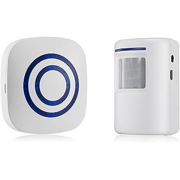 SODIAL Detector sensor de movimiento de puerta de negocios inalambrico Alarma de entrada de seguridad de casa con 1 receptor enchufable y 1 detector PIR resistente a la intemperie (blanco): Amazon.es: Bricolaje