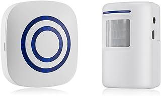 SODIAL Detector sensor de movimiento de puerta de negocios inalambrico Alarma de entrada de seguridad de casa con 1 receptor enchufable y 1 detector PIR resistente a la intemperie (blanco)