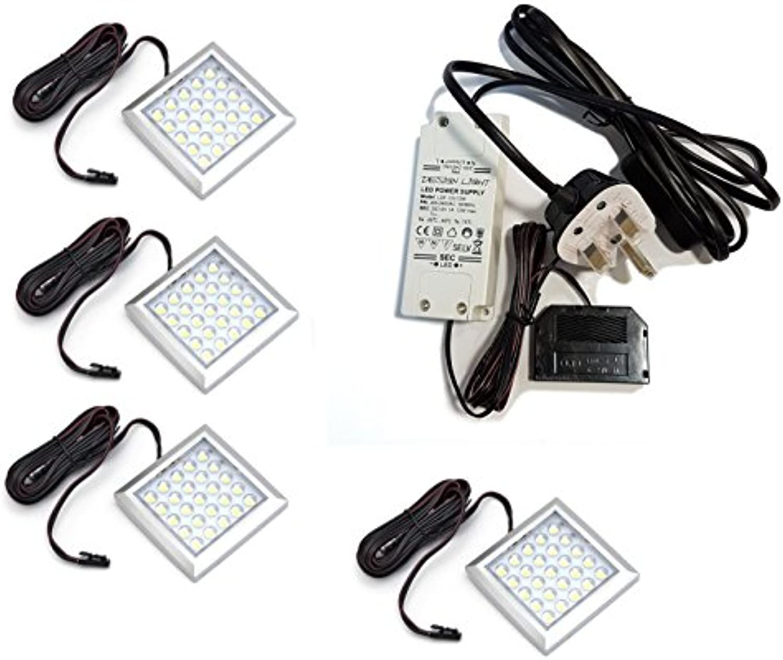 Quadratisch XL sehr hell kalt wei LED Licht 2W 12V unter Schrank Regal Kit of 4
