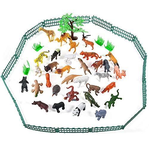 Juego de 55 Figuras de Animales Salvajes de la Selva, Juguetes de Animales, Favoritos de Fiesta de Animales de Mundo Zoológico para Chicos, Conjunto de Juguetes de Animales de Granja Pequeños Bosque