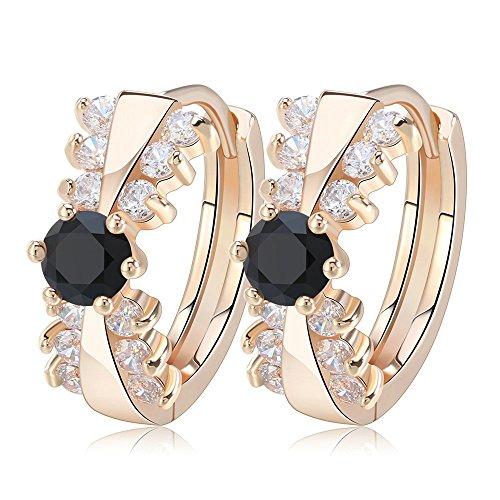 Onefeart Vergoldete Ohrringe für Damen Mädchen Krawatte Gestalten Schwarz Zircon Entwurf Creolen 6x18MM Schwarz