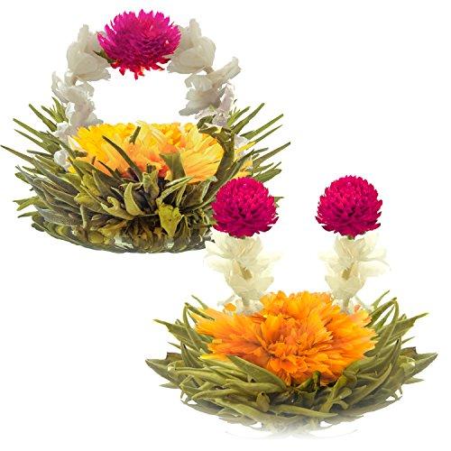 """""""Blühende Teeblumen - Litschi & Pfirsich Blütentees – Handgebundene blühende Teekugeln - Jede Teeblüte kann mehrfach verwendet werden (2er-Pack) """""""
