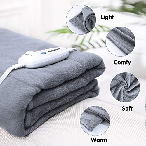 Polar Fleece Electric Heated Blanket Twin Size 62'' x 84'' Full Body Warming Premium Microfiber Sofa Blankets with Auto-Off 4 Temperature Settings Overheating Protection 10h Timer - Gray