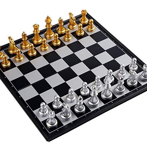 Ajedrez Juego de tableros de ajedrez, conjunto de juegos de mesa, conjunto de ajedrez para principiantes, ajedrez de viaje magnético, conjunto de ajedrez plegable, tablero de juego de plástico y pieza
