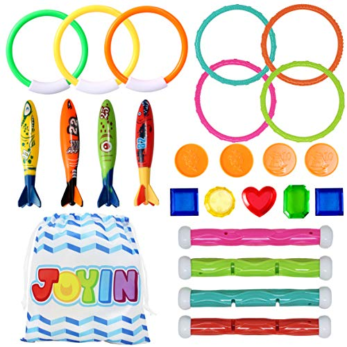 JOYIN 24 Pcs Diving Pool Toys Set with Bonus Storage Bag Includes 7 Diving Rings, 4 Diving Sticks, 4 Toypedo Bandits and 9 Pirate Treasures, Underwater Sinking Swimming Pool Toy for Kids