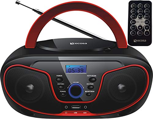 Tragbarer CD-Player | Boombox | CD/CD-R | USB | FM Radio | AUX-In | Kopfhöreranschluss | CD Player | Kinder Radio | CD-Radio | Stereoanlage | Kompaktanlage… (Cherry Red)