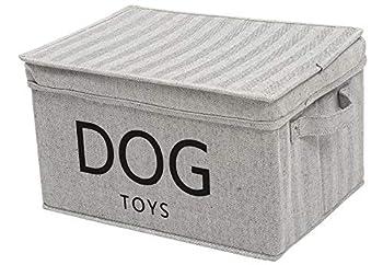 Xbopetda Panier de rangement pliable en toile avec couvercle pour jouets et accessoires pour animaux domestiques Gris rayé
