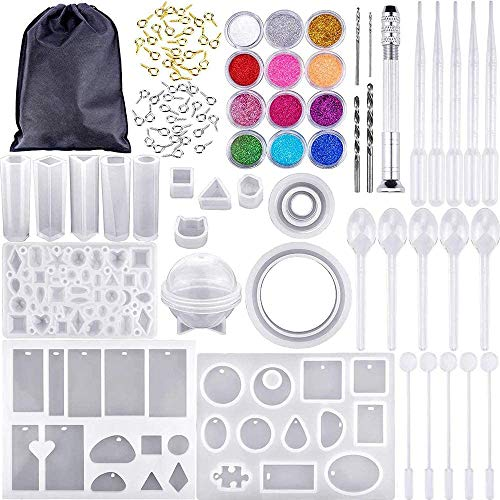 Gesh 159 PCS Resin Earring Kit - Silicon Casting Molds Set and Tools, Resin Craft for DIY Jewelry Making