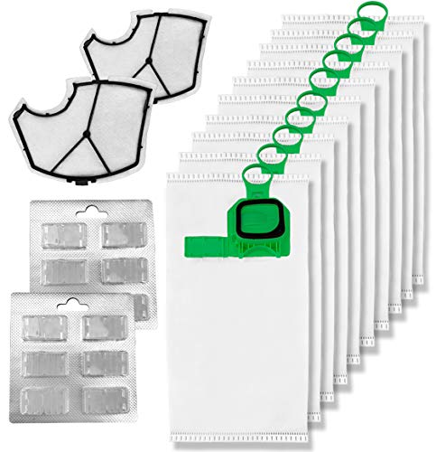 Kit de 12 bolsas de recambio compatibles con Vorwerk Folletto VK140 VK150 + 12 pastillas de perfume + 2 filtros (12 unidades)