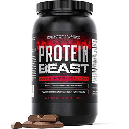 Protein Beast (Double Chocolate Geschmack) - Protein Pulver für den Muskelaufbau - enthält Molke-, Milch- und Soja-Protein (1kg)