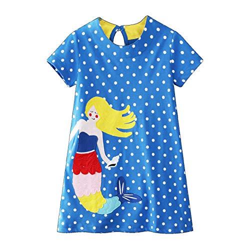 FILOWA Niña Manga Corta Vestidos Algodon Casual Verano Azul Lunares Vestido Sirena Animal Estampados Fiesta Elegantes Vestidos Camiseta Rectos Chica Regalo de Cumpleaños 6-7 Años