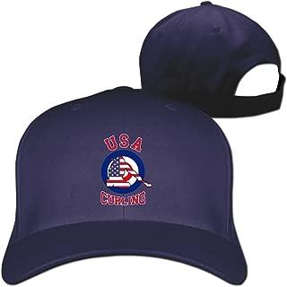 TWPDA 2018 USA Curling Team Unisex Baseball Hat Peaked Cap Outdoor Sport Hat Black