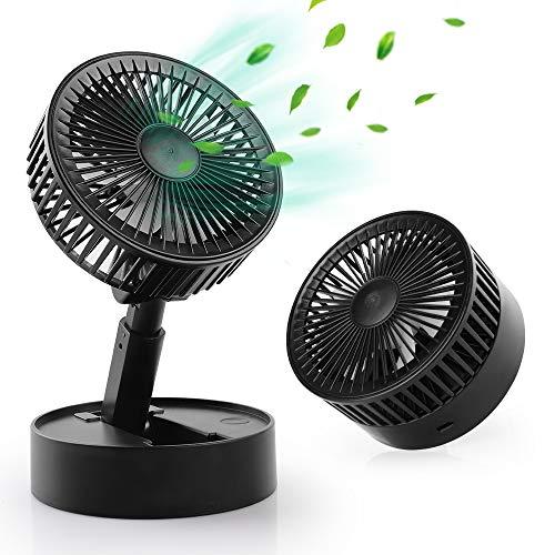 WD&CD Ventilador de Mesa Ventilador USB Flujo de Aire Potente Ventilador Plegable Mini, Ventilador Silencioso para Dormir, 3 Velocidades, Cabeza Ajustable -Negro