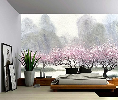 Picture Sensations Canvas Texture Wall Mural, Watercolor Mountain Cherry Trees, Self-Adhesive Vinyl Wallpaper, Peel & Stick Fabric Wall Decal - 144x96