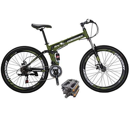 Eurobike Bikes HYG4 21 Speed Folding Mountain Bike 26 Inch Muti Spoke Wheels Dual Suspension Bicycle...