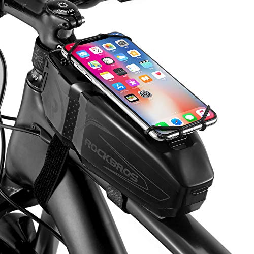 ROCKBROS Borsa da Telaio Bici Impmereabile Custodia Rigida Portacellulare per MTB Biciclette Porta Telefono Fino 6.5  Pollici Touch Screen Grand capacità 1L Accessori Bike Design Originale