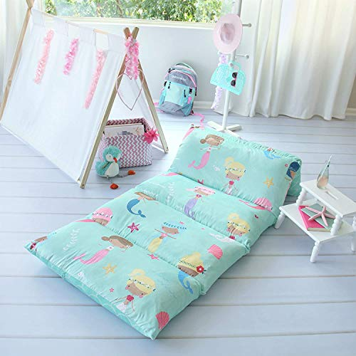 Butterfly Craze Pillow Bed Floor Lounger Cover - Perfect for Pillow Recliners & Kid Beds for Reading Playing Games or at a Sleepover or Slumber Party - Aqua Mermaid, Queen Size
