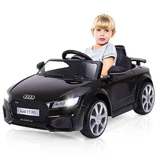 COSTWAY 12V Lizenziertes Audi Kinderauto mit 2,4G-Fernbedienung, 3 Gang Elektroauto 2,5-5km/h mit MP3, Musik, Hupe und LED-Leuchten, batteriebetriebenes Kinderfahrzeug für Kinder von 37-96 Monaten