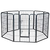 Wire Pen Dog Fence Playpen - Pet Dogs & Cats Outdoor Exercise Pens - Tube Gate w/Door - (8 Panel / 30 Square Feet Play Yard) Heavy Duty Portable Folding Metal Animal Cage Corral - 40' Height Fences