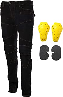 Motorcycle Riding Jeans Armor Racing Cycling Pants with 4 Knee Hip Protective Pads (L=32, Black)