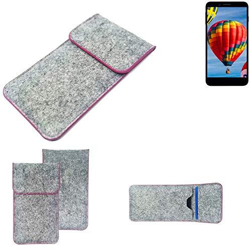 K-S-Trade Handy Schutz Hülle Für Vestel V3 5030 Schutzhülle Handyhülle Filztasche Pouch Tasche Hülle Sleeve Filzhülle Hellgrau Pinker Rand