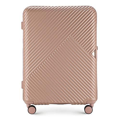 Mittlerer Koffer Material Polycarbonat von Wittchen 8 Lenkrollen Zahlenschloss Hartschalen Gewicht 3.4KG Farbe Rosa